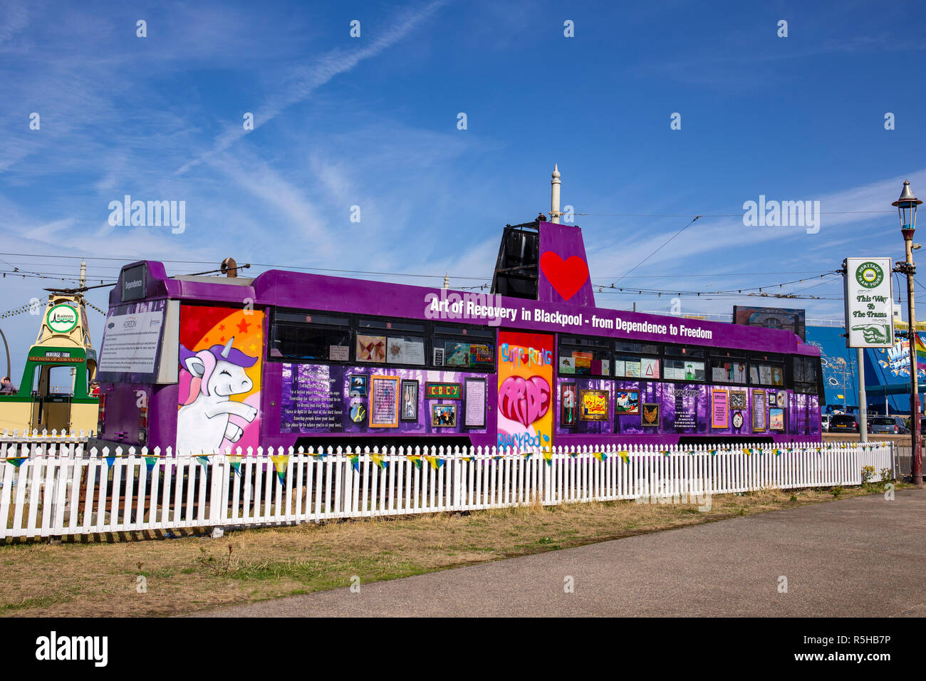 Disused tram used for art work display in Blackpool Lancashire UK - Stock Image