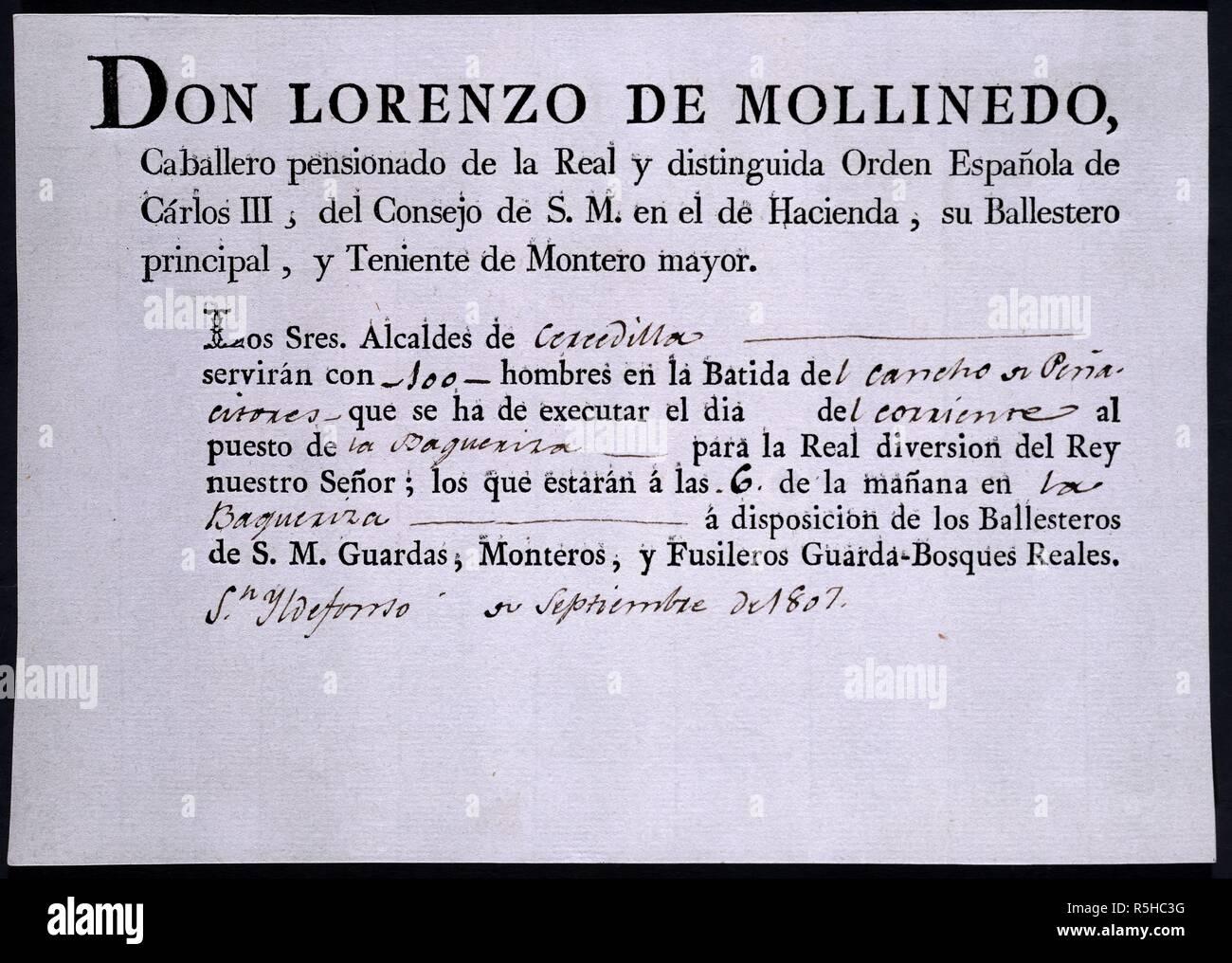 PAPELETA DE REQUERIMIENTO DE HOMBRES PARA OJEOS POR D.LORENZO MOLLINEDO-SEPT 1807. Location: PALACIO REAL-BIBLIOTECA. MADRID. SPAIN. - Stock Image