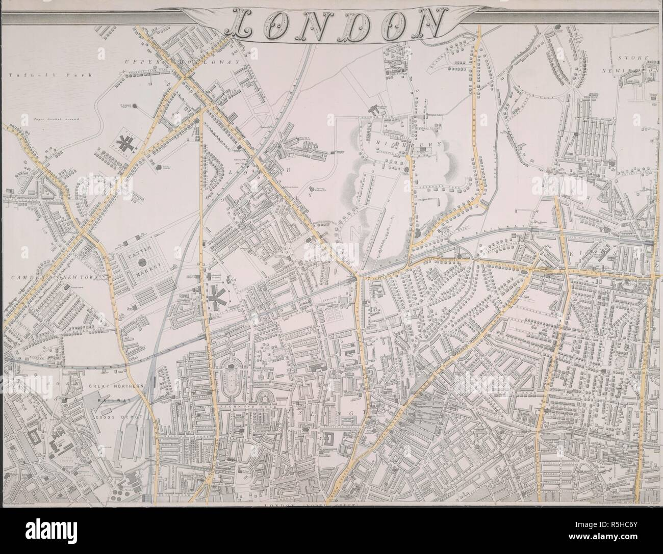 Street map of London covering Upper Hollloway, Stoke Newington, Highbury, Camden, Southgatre Road, and Hoxton. London / compiled and engraved by Edward Weller F. R.G. S., 34 Red Lion Square. London : published by Cassell, Peter, & Calpin, Belle Sauvage Yard, Ludgate Hill, E. C., [1861-63]. Source: Maps Crace Port.7.271 part A. Author: Cassell, Petter & Galpin. - Stock Image