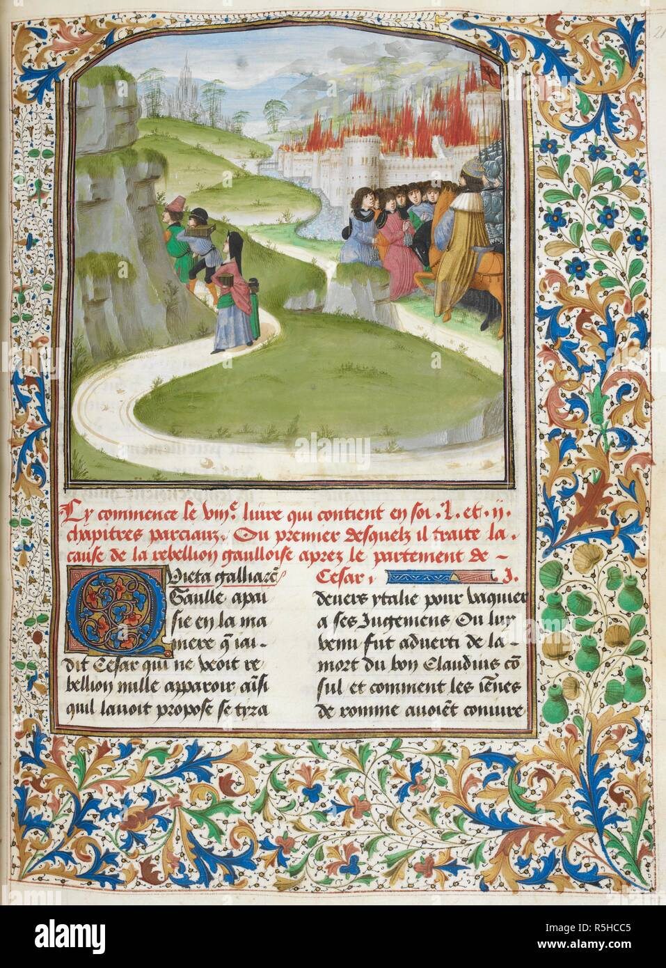 Caesar attacking the Gauls, a burning city behind (Book 8). . Caesar, translated by Jan Du Quesne (or Jean Duchesne), Bellum Gallicum ( Les commentaires de Cesar ). 1473-1476. Source: Royal 16 G. VIII f.210. Language: French. Author: JULIUS CAESAR. Du Quesne, Jehan. - Stock Image