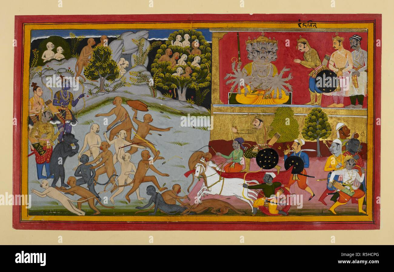As yet more of the demons' champions have been slain by the monkey heroes, Indrajit is sent out once more by Rāvaṇa to do battle. He advances in his chariot invisibly, while the monkeys wield rocks and trees in vain, and Rāma and Lakṣmaṇa prepare. Other monkeys hide behind rocks or in a tree, terrified of the darkness which Indrajit has made cover the earth.  Inscribed in the margin above the demon: Iṃdrajit. Ramayana. Udaipur, c.1653. Source: Add.19297(1), f.109. Language: Sanskrit. - Stock Image