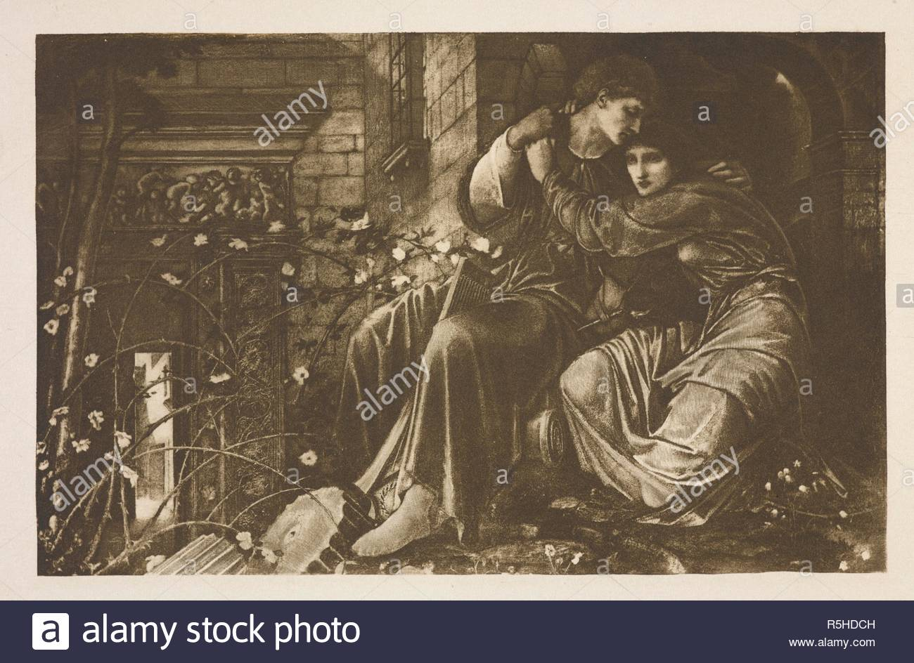 Love among the ruins.  Reproduction of the painting by the pre-Raphaelite artist Edward Burne-Jones. Edward Burne-Jones, a record and review. [With plates.]. London : G. Bell & Sons, 1892. Source: LR.404.a.6 plate opposite page 64. - Stock Image