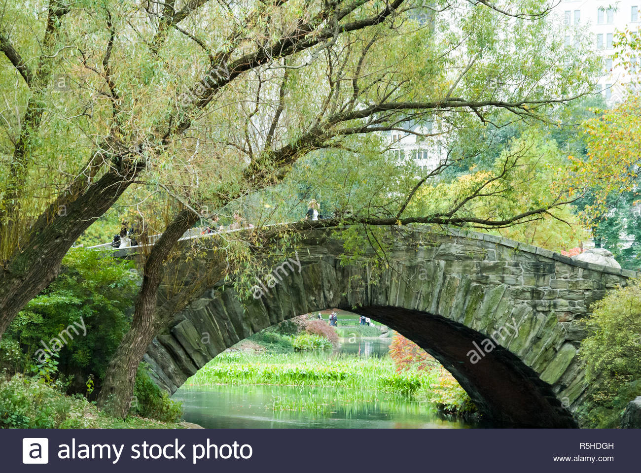 New York, New York, USA - October 25, 2008: Pedestrians in and around the Gapstow Bridge in Central Park - Stock Image