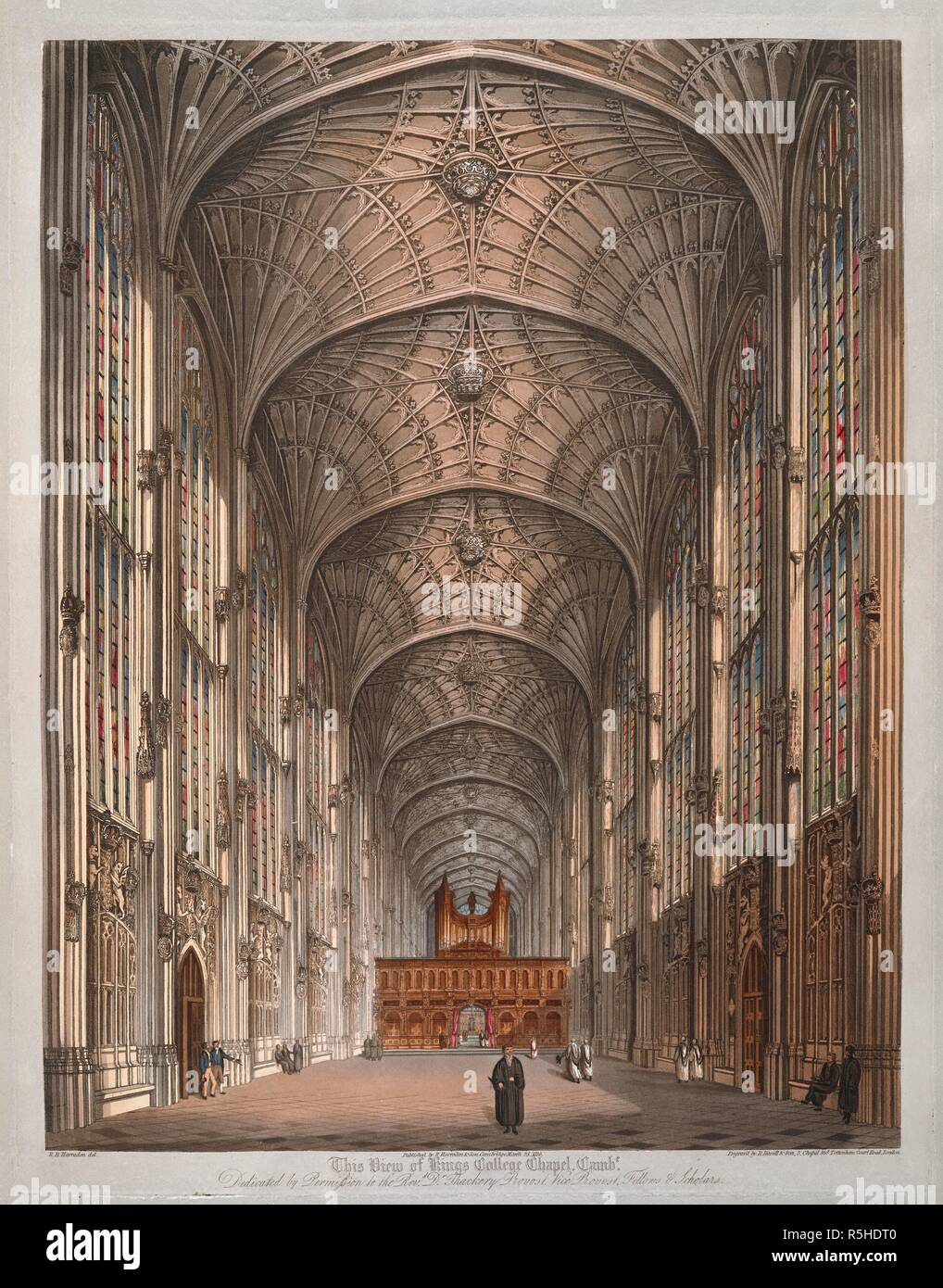 Scholars and choristers standing inside King's College Chapel; stained glass windows on either side; the fan-vaulted ceiling; the organ in the distance. This View of Kings College Chapel Cambe. [Cambridge] : Published by R. Harraden & Son, Cambridge, March 25 1816. Aquatint and etching with hand-colouring. Source: Maps K.Top.8.58.o. Language: English. Author: Harraden, Richard. Stock Photo