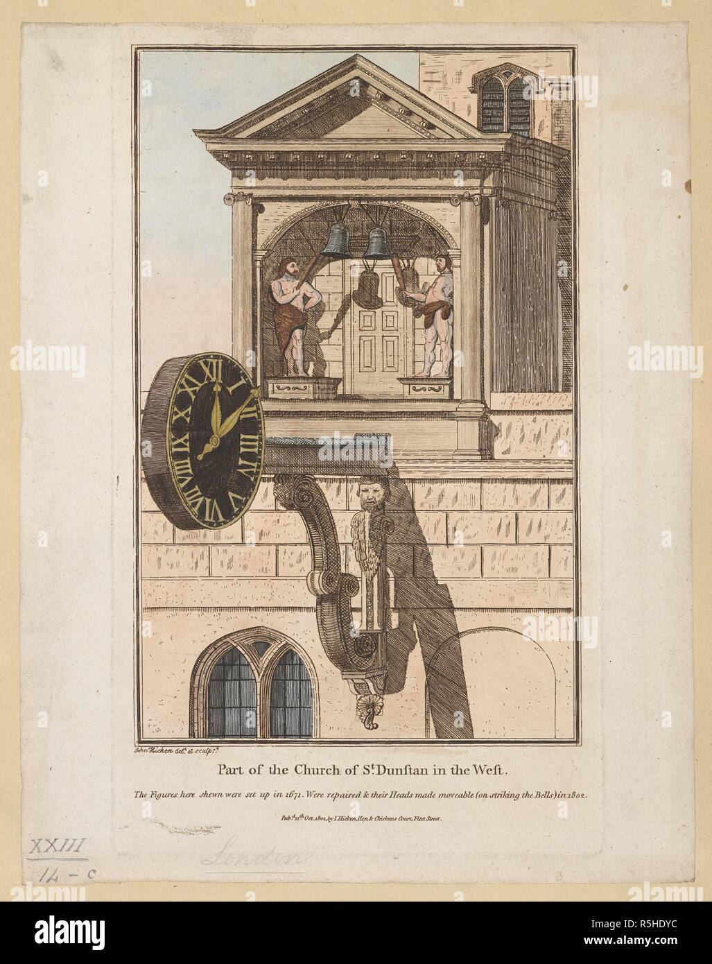 A clock mounted on a church wall above a window; the figures of two giants holding clubs on either side of bells; a pediment above. Part of the Church of St. Dunstan in the West : The Figures here shewn were set up in 1671. Were repaired & their Heads made moveable (on striking the Bells) in 1802 /. [London] : Pubd 11th Oct 1802 by I. Hicken, Hen & Chickens Court, Fleet Street, [October 11 1802]. Source: Maps K.Top.23.14.c. Language: English. Stock Photo
