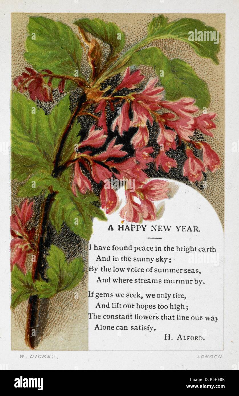 new year greetings card with floral decoration and poem by h alford gift cards