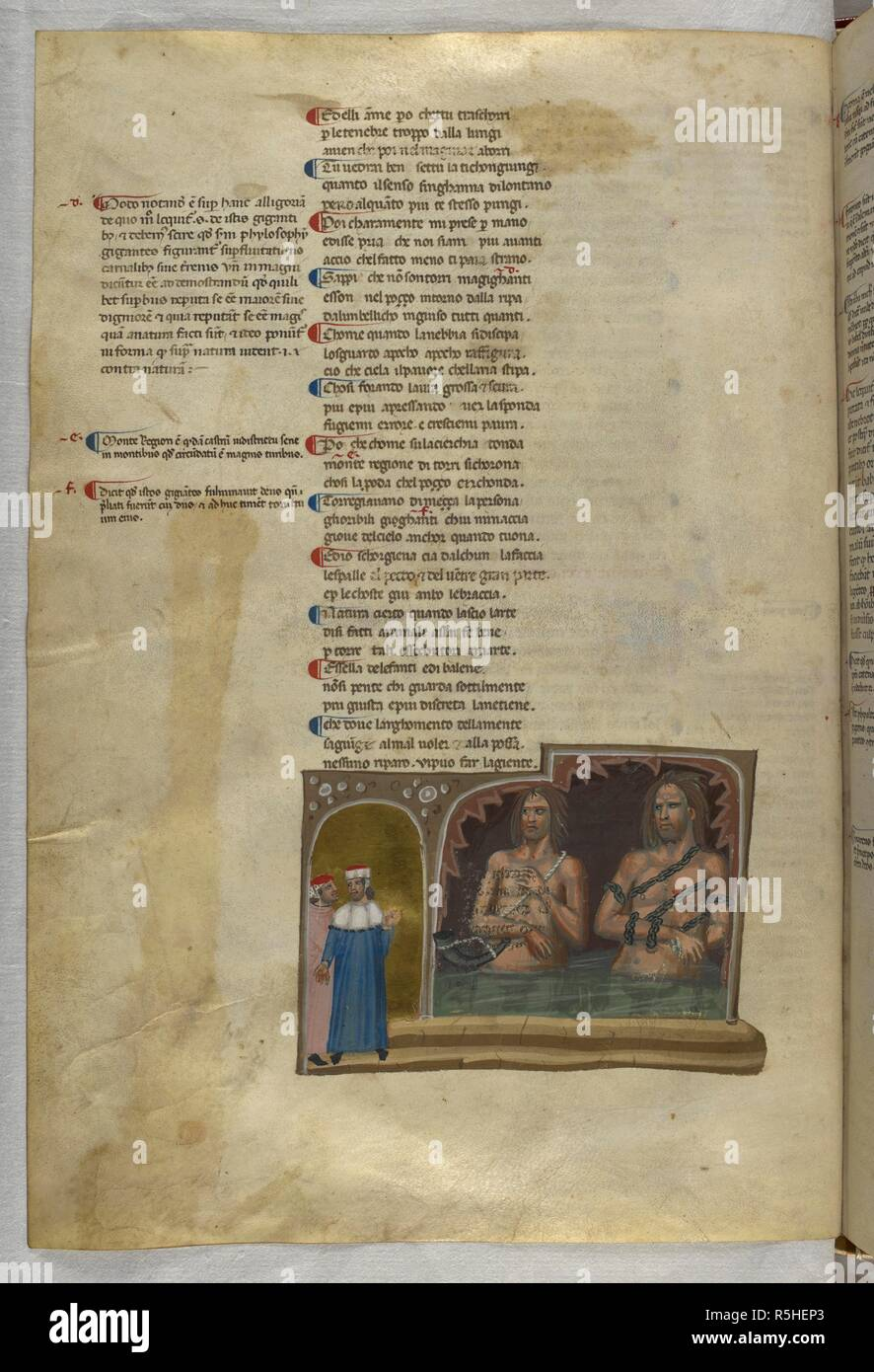 Inferno: The giants Nimrod and Ephialtes. Dante Alighieri, Divina Commedia ( The Divine Comedy ), with a commentary in Latin. 1st half of the 14th century. Source: Egerton 943, f.55v. Language: Italian, Latin. - Stock Image