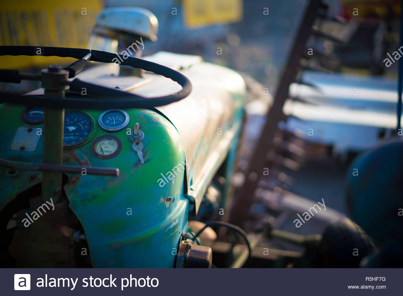 antique tractor gauges stock photos antique tractor gauges stock Tractor Lift Pump old worn green tractor with analog gauges and shallow depth of field stock image