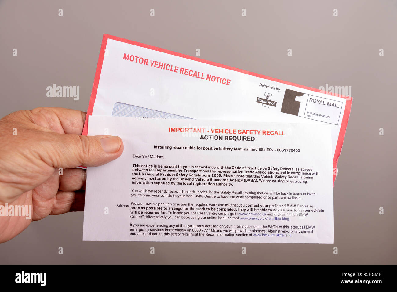 Official notification letter and envelope for a UK car safety recall Stock Photo