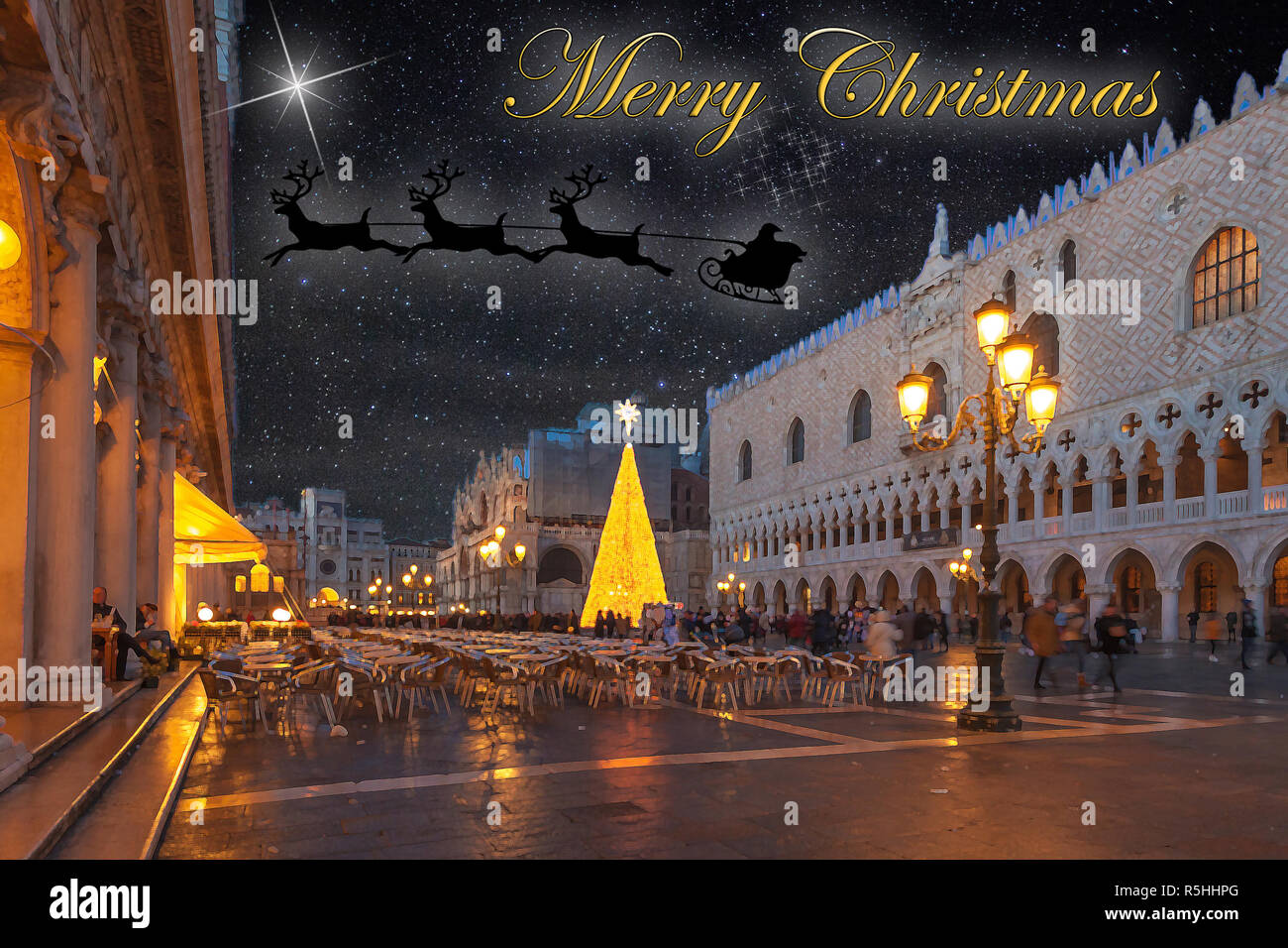 Christmas greetings card with Venice San Marco Square abstract background and Santa Klaus with reindeer in the sky Stock Photo