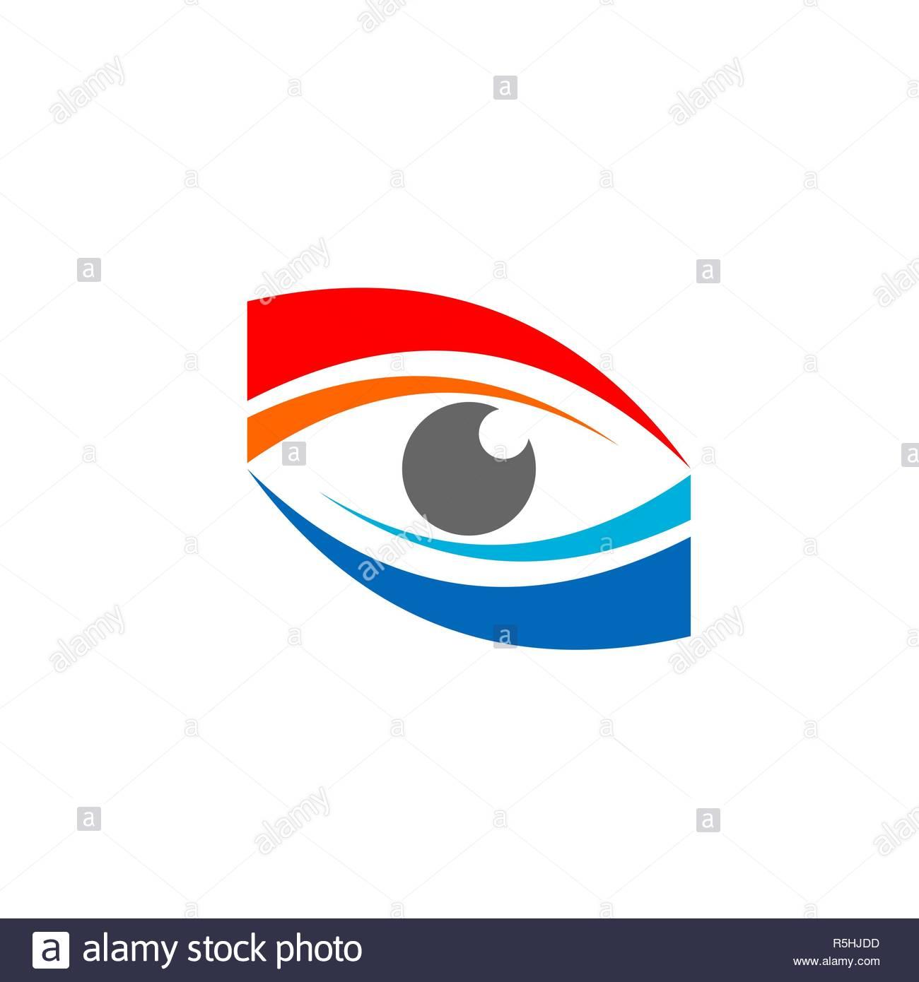 eye vision logo symbol icon vector design. red blue eye vision business concept - Stock Image