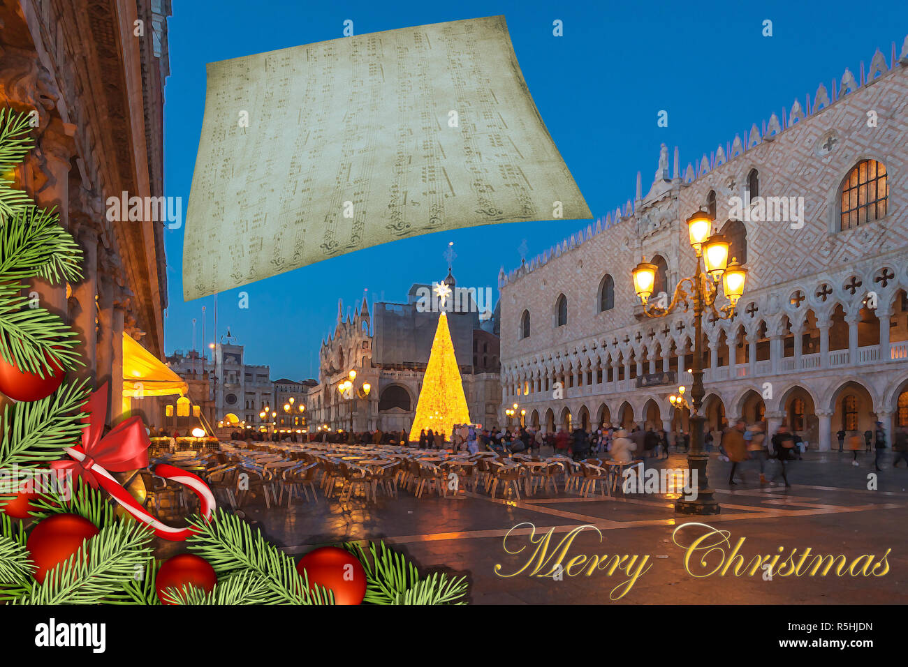 Christmas greetings card with fir branches and Venice San Marco Square abstract background Stock Photo