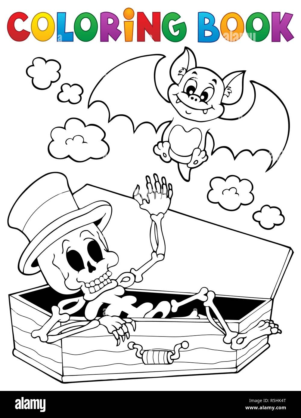 Coloring book skeleton and bat Stock Photo: 227196280 - Alamy