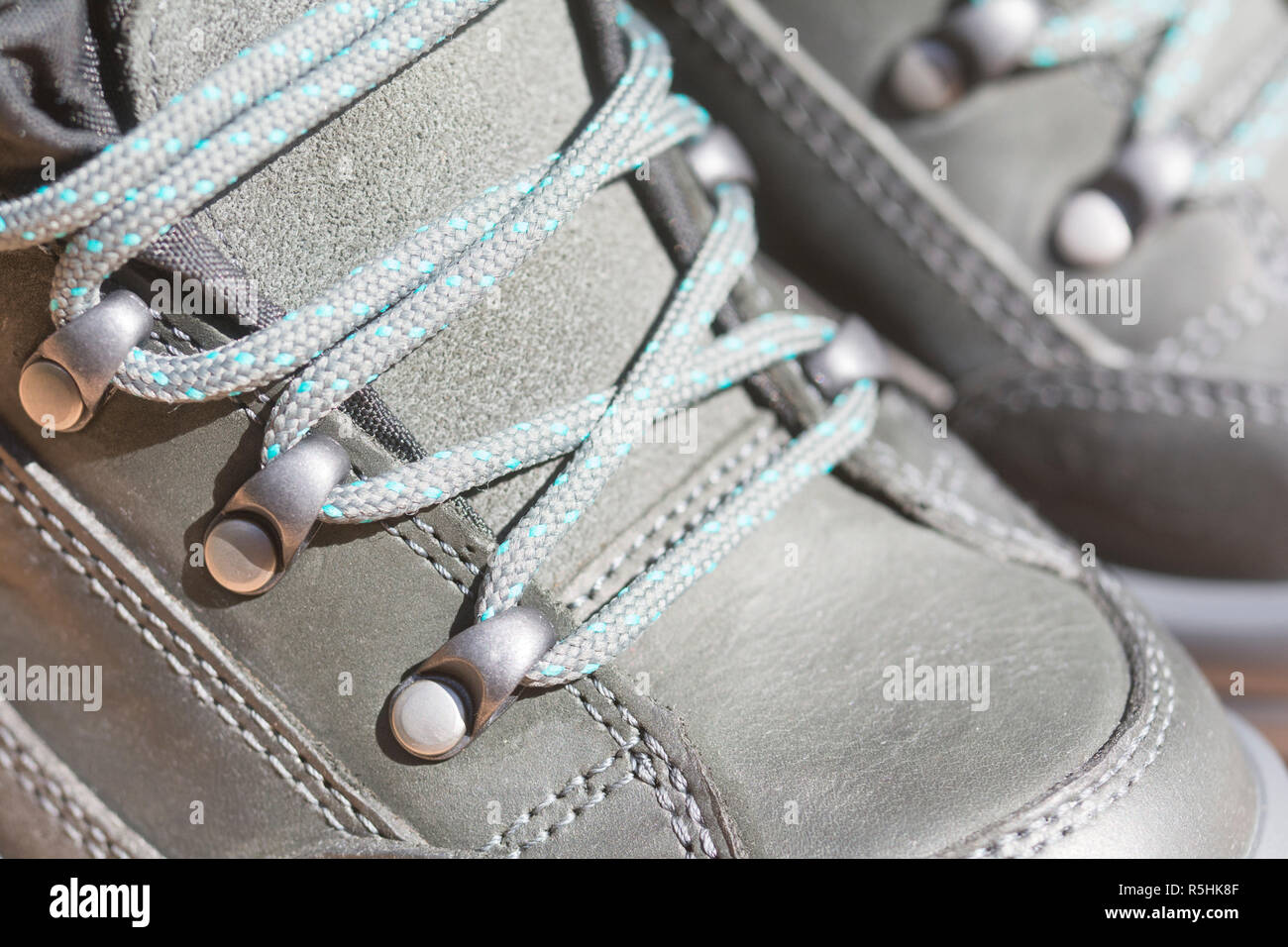 shoelaces on the hiking shoe Stock Photo