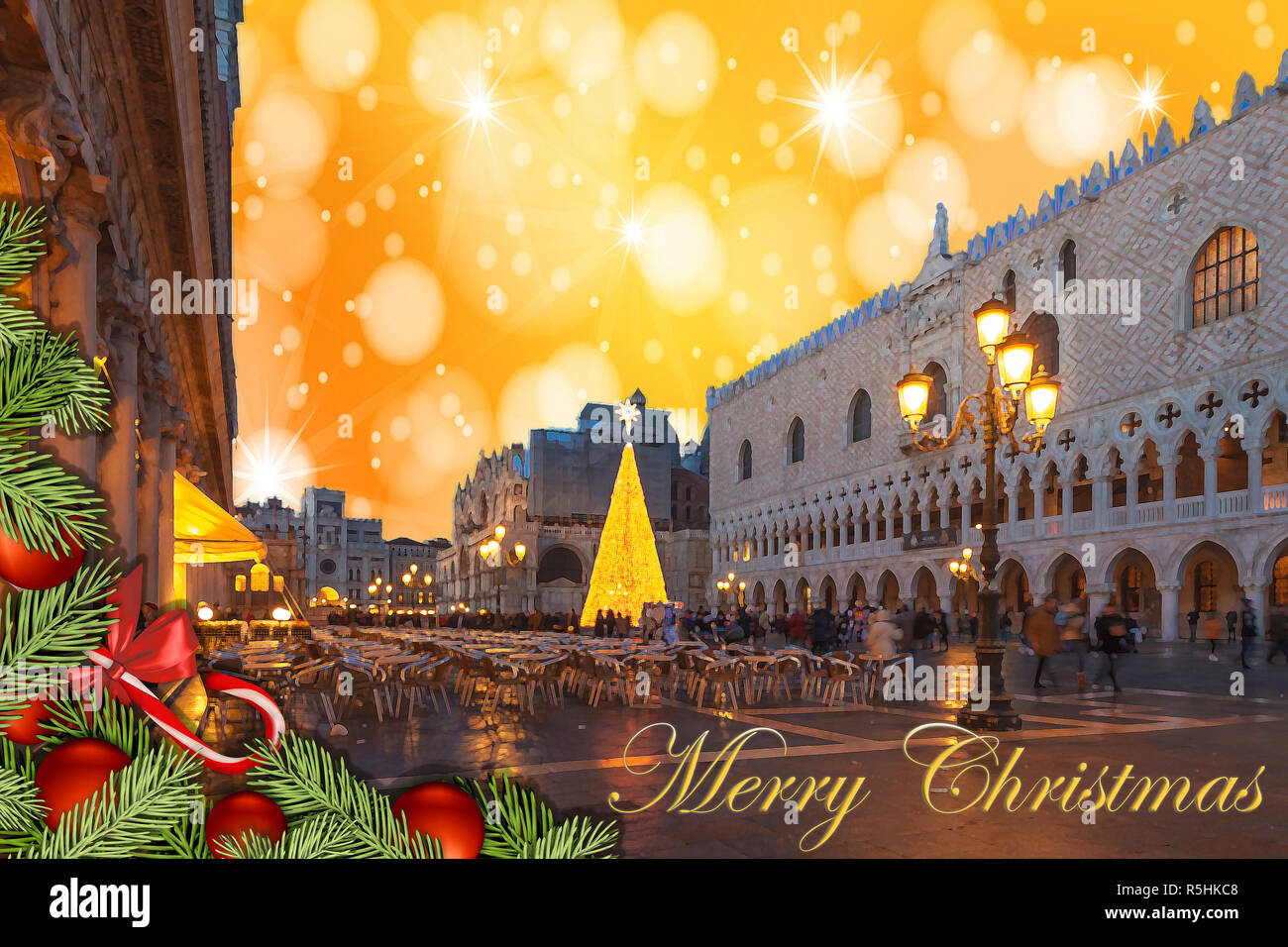 Christmas greetings card with fir branches, Venice San Marco Square abstract background and fantasy sky Stock Photo