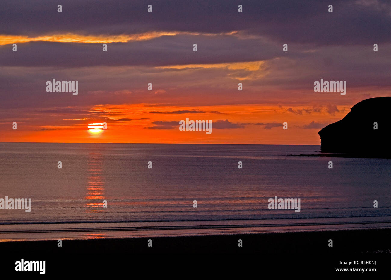 Early morning sunrise over the North Sea at Caithness in Scotland. Stock Photo