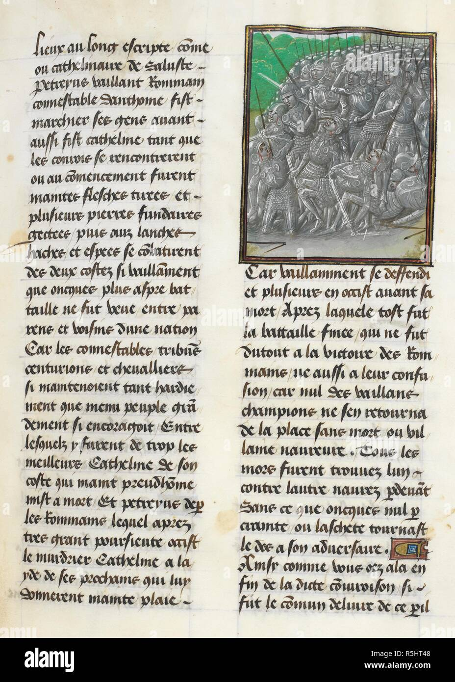 Defeat of Catiline (Book 1, 32). Caesar, translated by Jan Du Quesne (or Jean Duchesne), Bellum Gallicum ( Les commentaires de Cesar ). 1473-1476. Source: Royal 16 G.VIII, f.67. Author: JULIUS CAESAR. Du Quesne, Jehan. Circle of the Master of the London Wavrin. - Stock Image