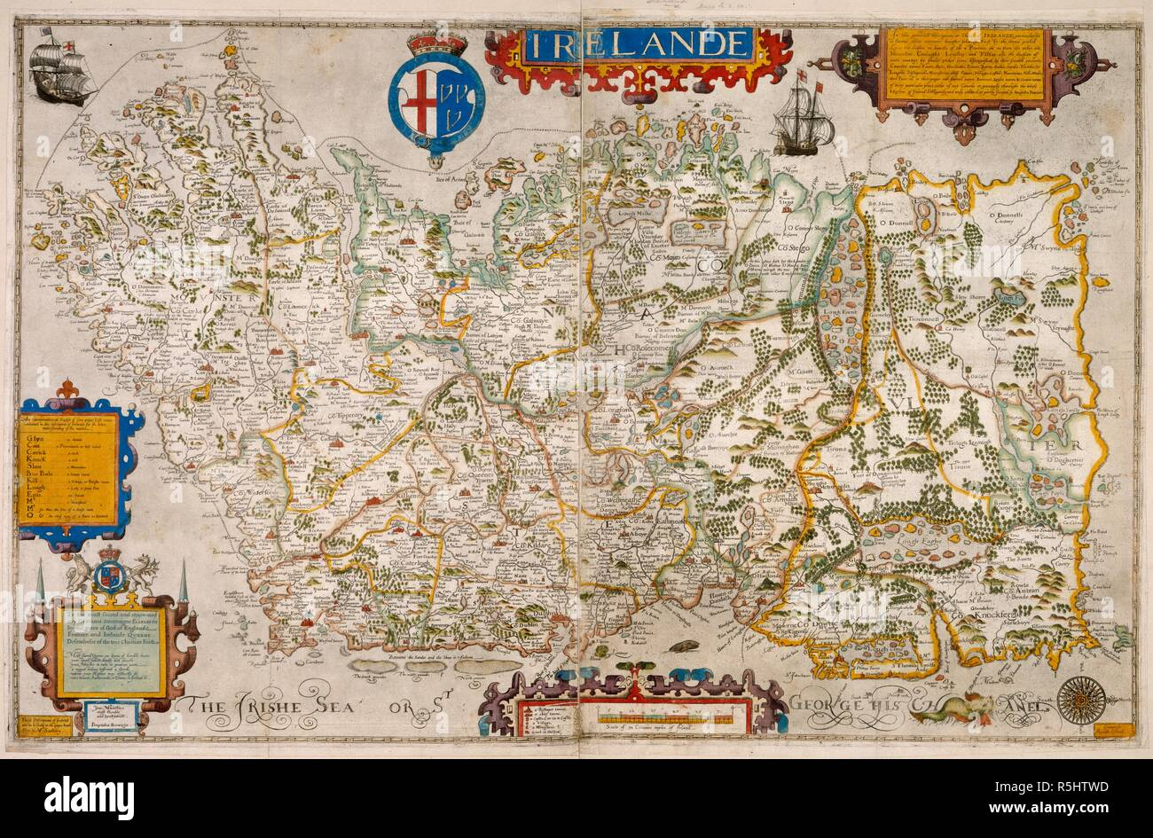 Os Map Of Ireland.A Map Of Ireland Dated 1599 Irelande Signed Baptista Boazio