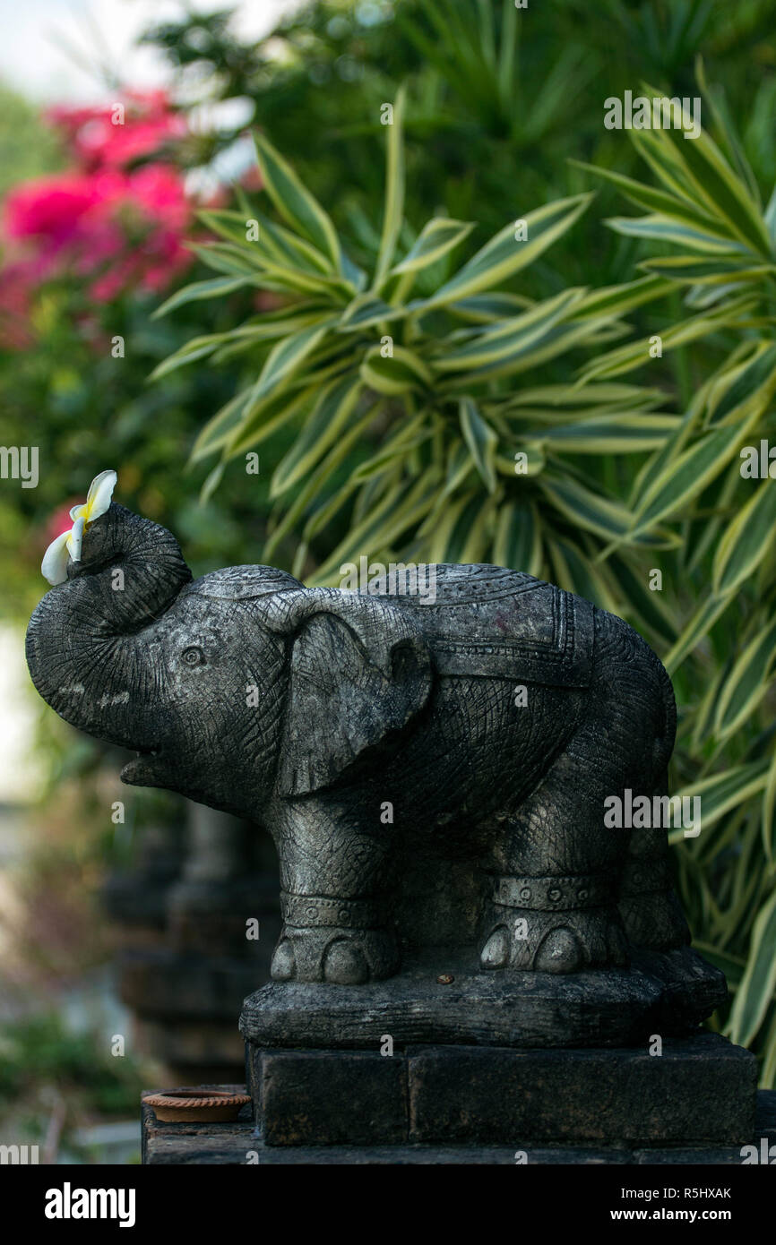 Elephant Ornament of a buddhist temple in Chiang Mai, Thailand. - Stock Image