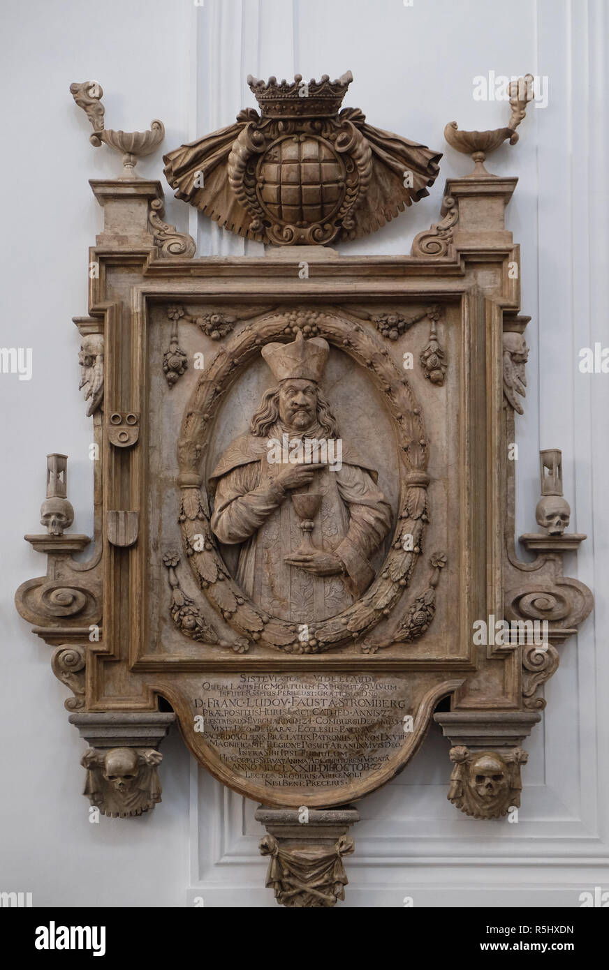 Memorial to the Cathedral provost Franz Ludwig Faust von Stromberg in Wurzburg Cathedral, Bavaria, Germany - Stock Image