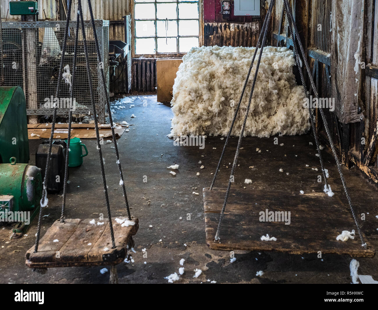 Wool Weighing Scales - Wool Bale Weighing Scales at the Trefriw Woolen Mills in Trefriw North Wales - Stock Image