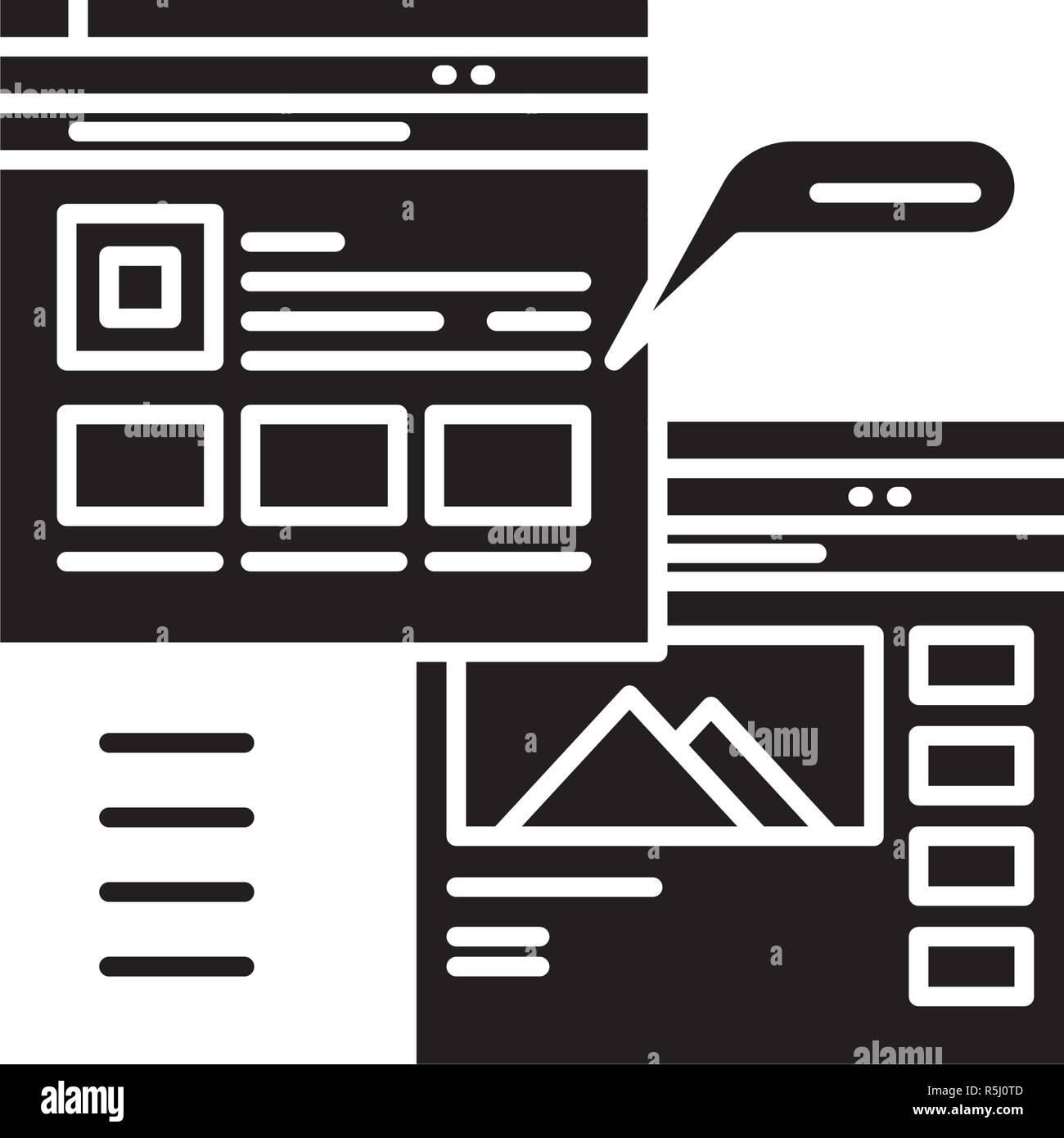 Webpage blogging black icon, vector sign on isolated background. Webpage blogging concept symbol, illustration  - Stock Image