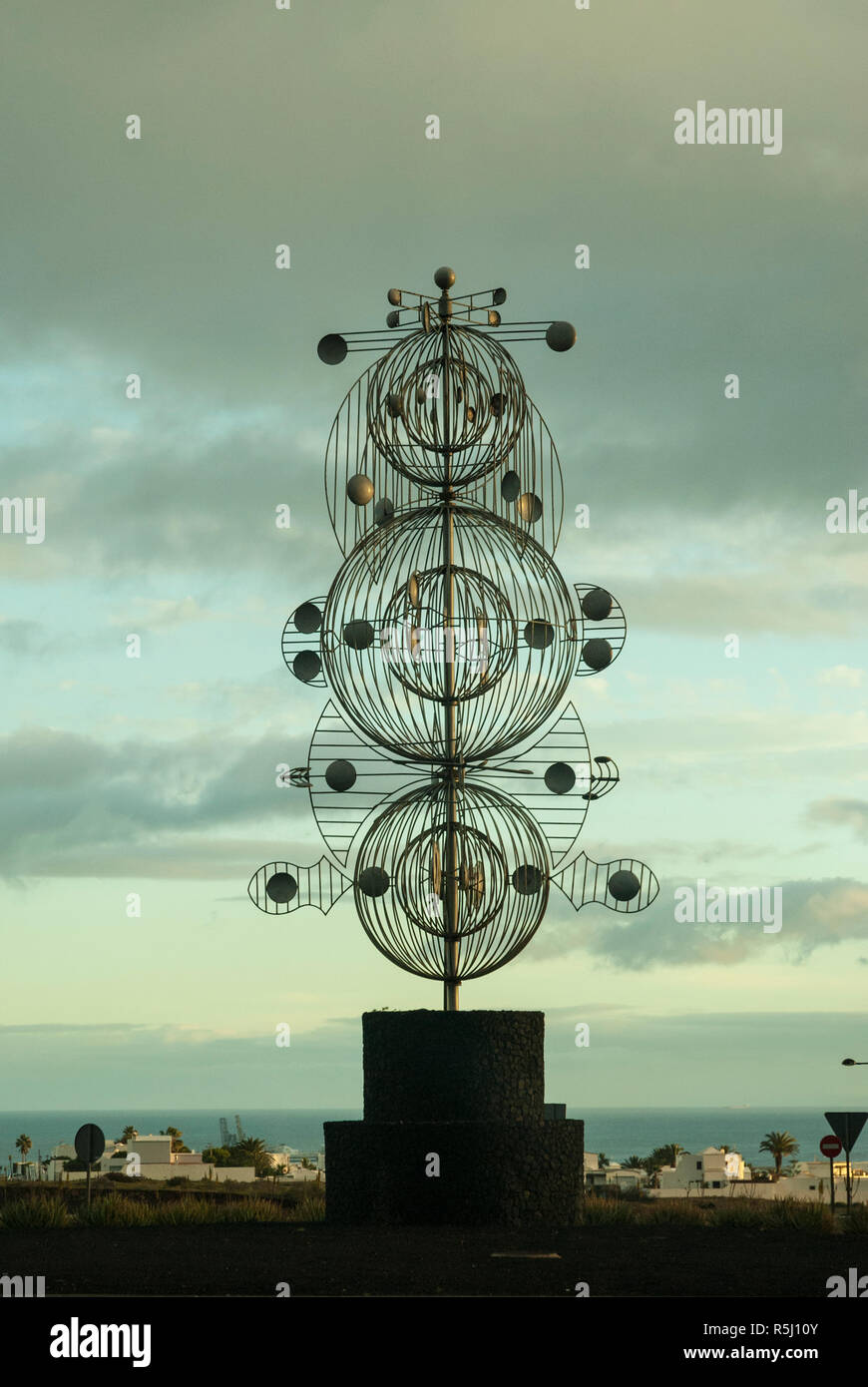 A striking kinetic sculpture at twilight by artist Cesar Manrique in his home land.  Tahiche, Lanzarote, Canary islands - Stock Image