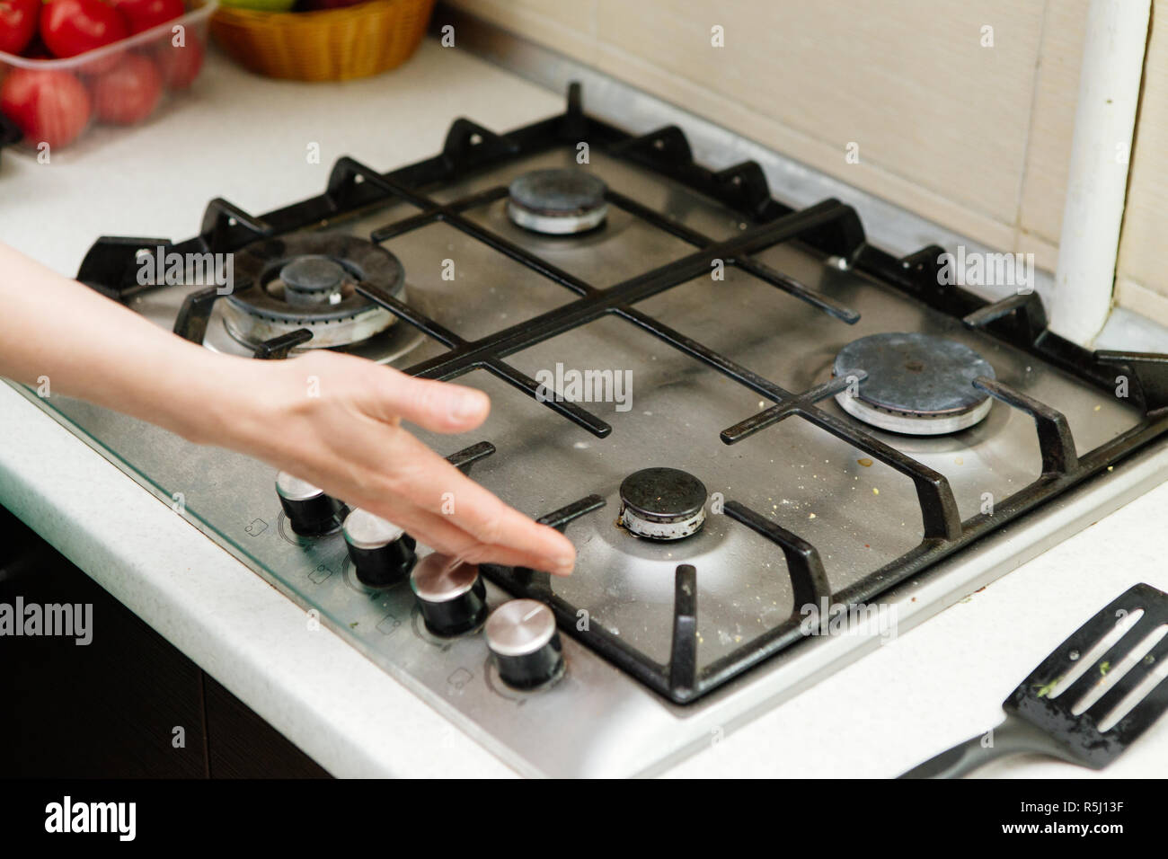 dirty gas stove, kitchen - Stock Image