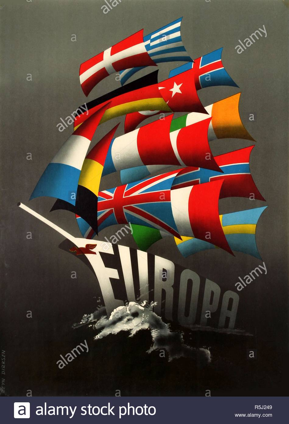 Europa. Marshall Plan. Museum: PRIVATE COLLECTION. Author: Dirksen, Reyn. Copyright: This artwork is not in public domain. It is your responsibility to obtain all necessary third party permissions from the copyright handler in your country prior to publication. Stock Photo