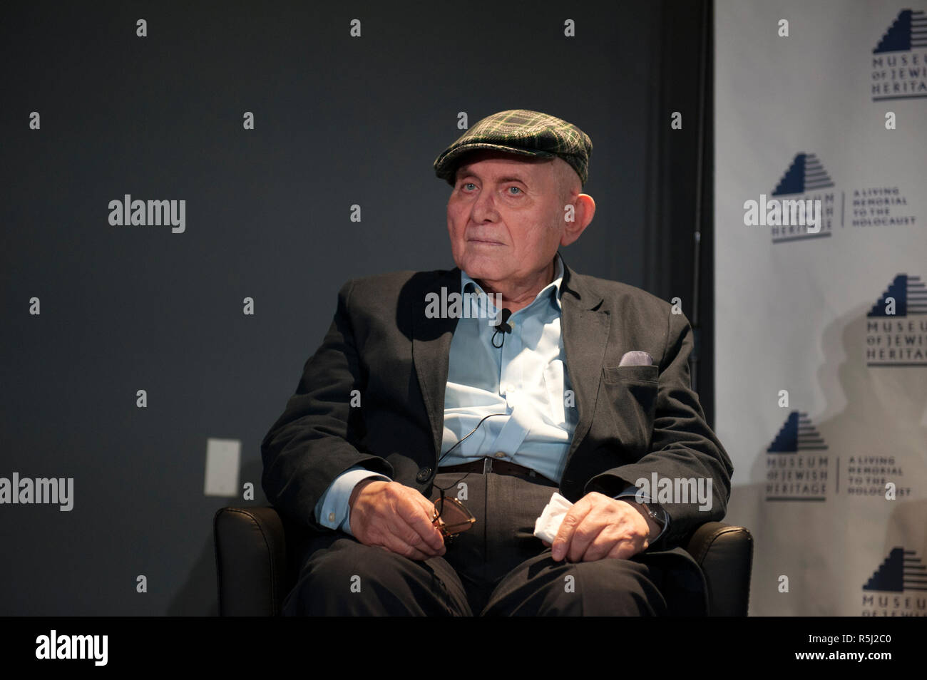 """Pinchas Gutter, a Holocaust survivor, is featured in the Museum of Jewish Heritage's exhibition, """"New Dimensions in Testimony."""" - Stock Image"""