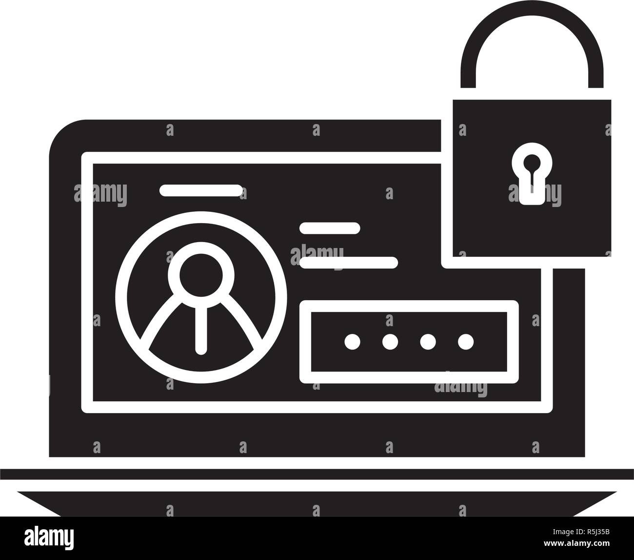 Secure data black icon, vector sign on isolated background. Secure data concept symbol, illustration  - Stock Image