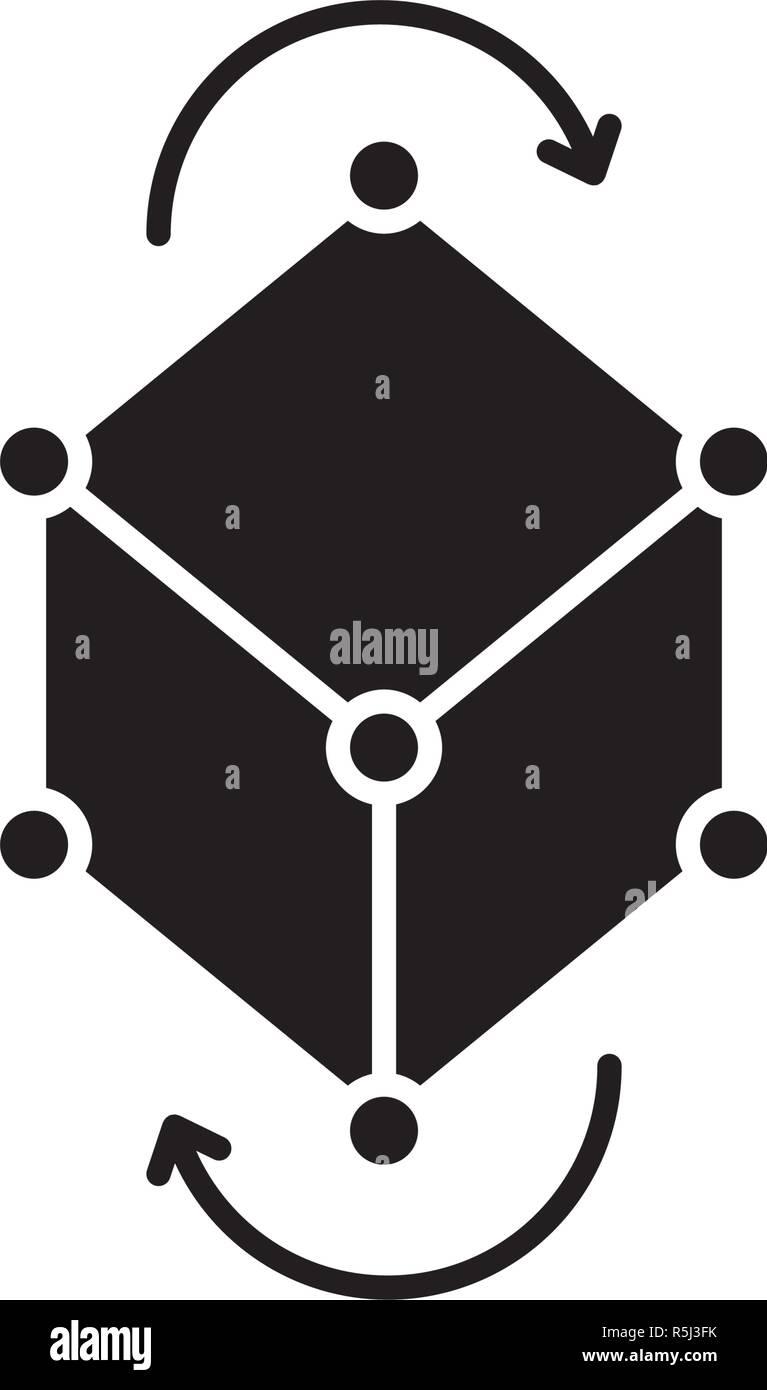 Business model pivot black icon, vector sign on isolated background. Business model pivot concept symbol, illustration  - Stock Image