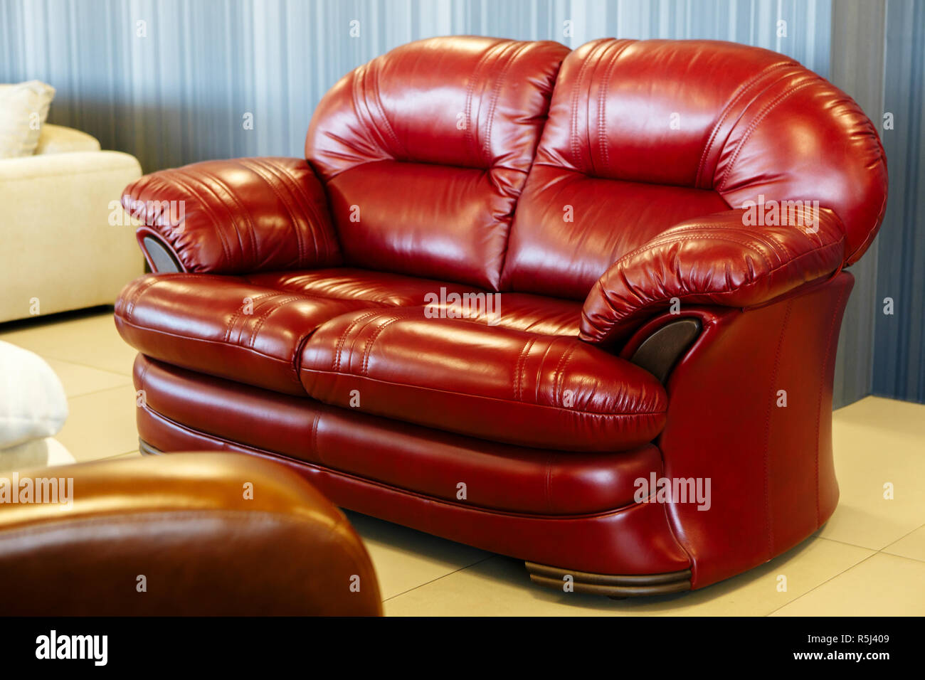 Empty Red Leather Sofa Background Furniture Decoration Stock Photo