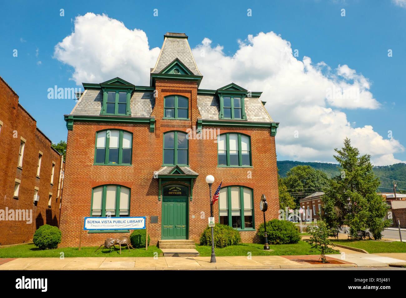 Buena Vista Public Library, Old Couthouse, 2110 Magnolia Avenue, Buena Vista, Virginia - Stock Image