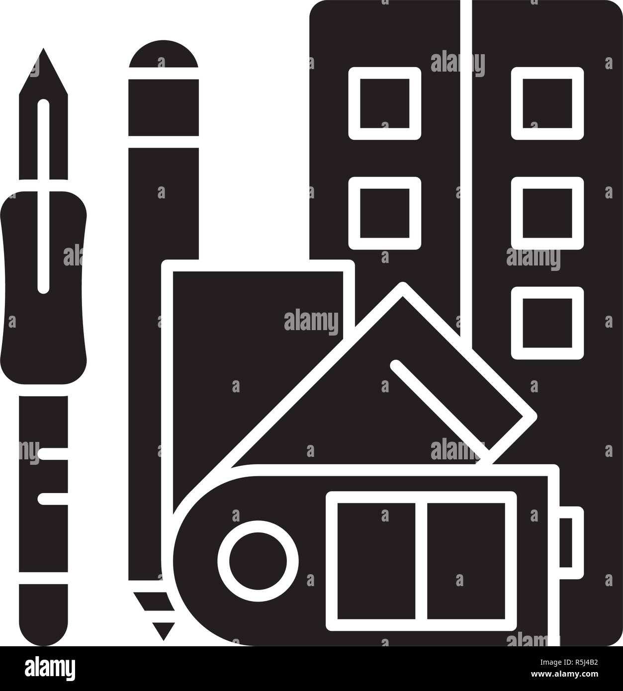 Art skills black icon, vector sign on isolated background. Art skills concept symbol, illustration  - Stock Vector
