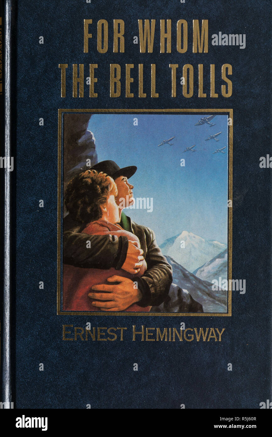 For whom the Bell Tolls Book - novel by Ernest Hemingway. Close-up of the front cover. - Stock Image