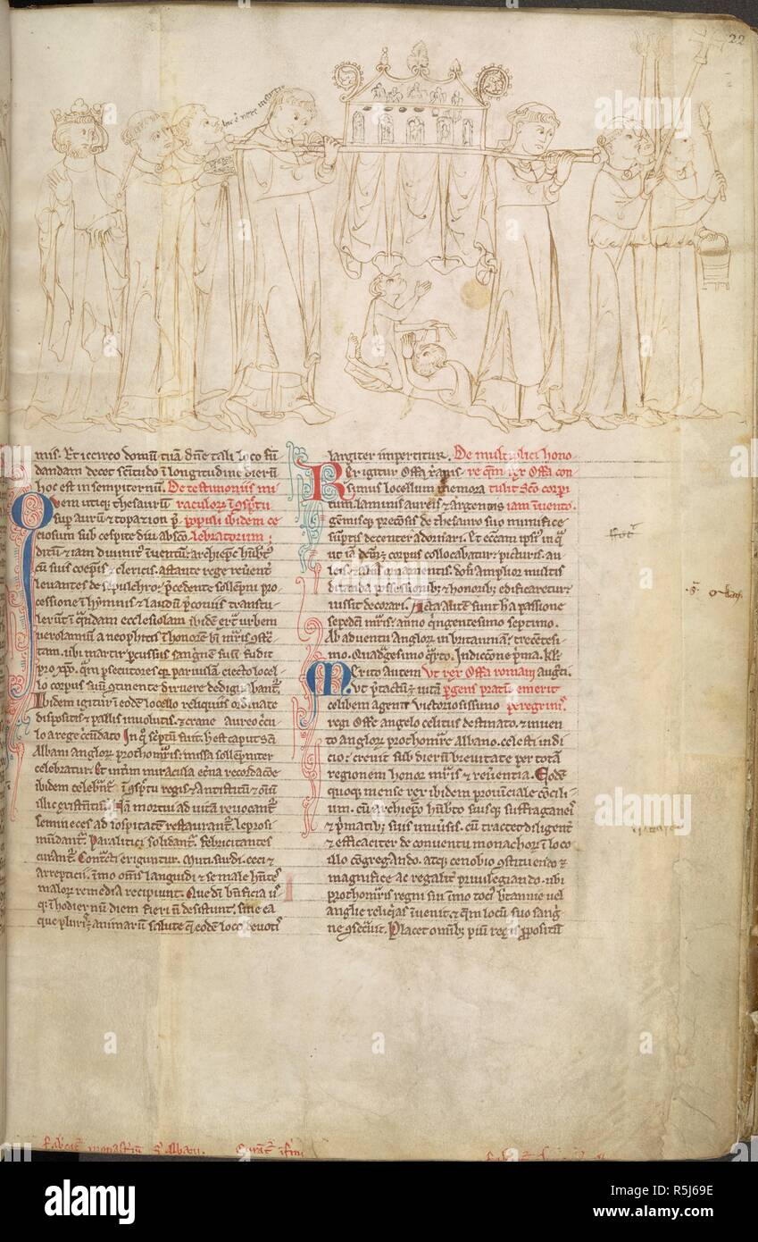 The remains of St Alban are born in procession to a chapel. Lives of the Offas. England [St Albans]; circa 1250-1254. Source: Cotton Nero D. I, f.22. Language: Latin. Author: PARIS, MATTHEW. Stock Photo