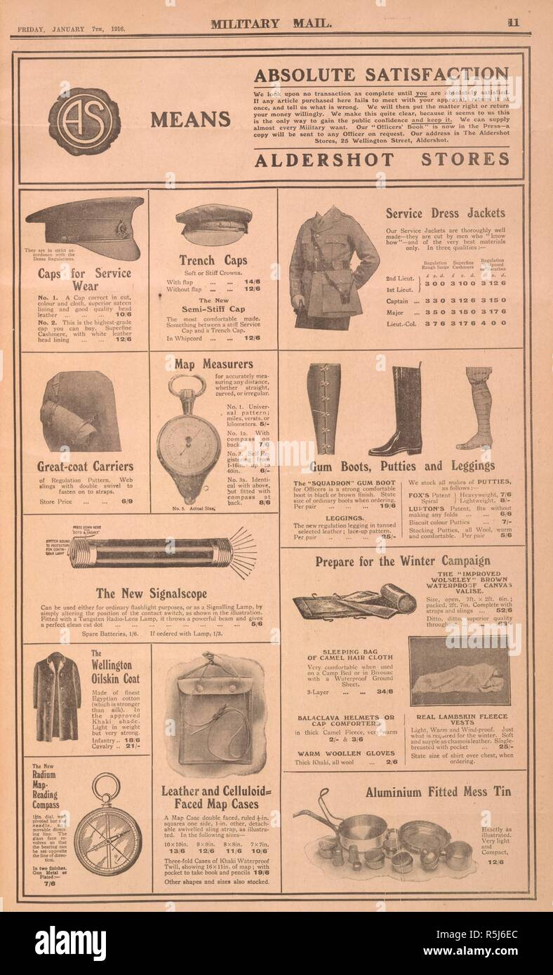 An advertisement for 'Aldershot stores', selling accessories