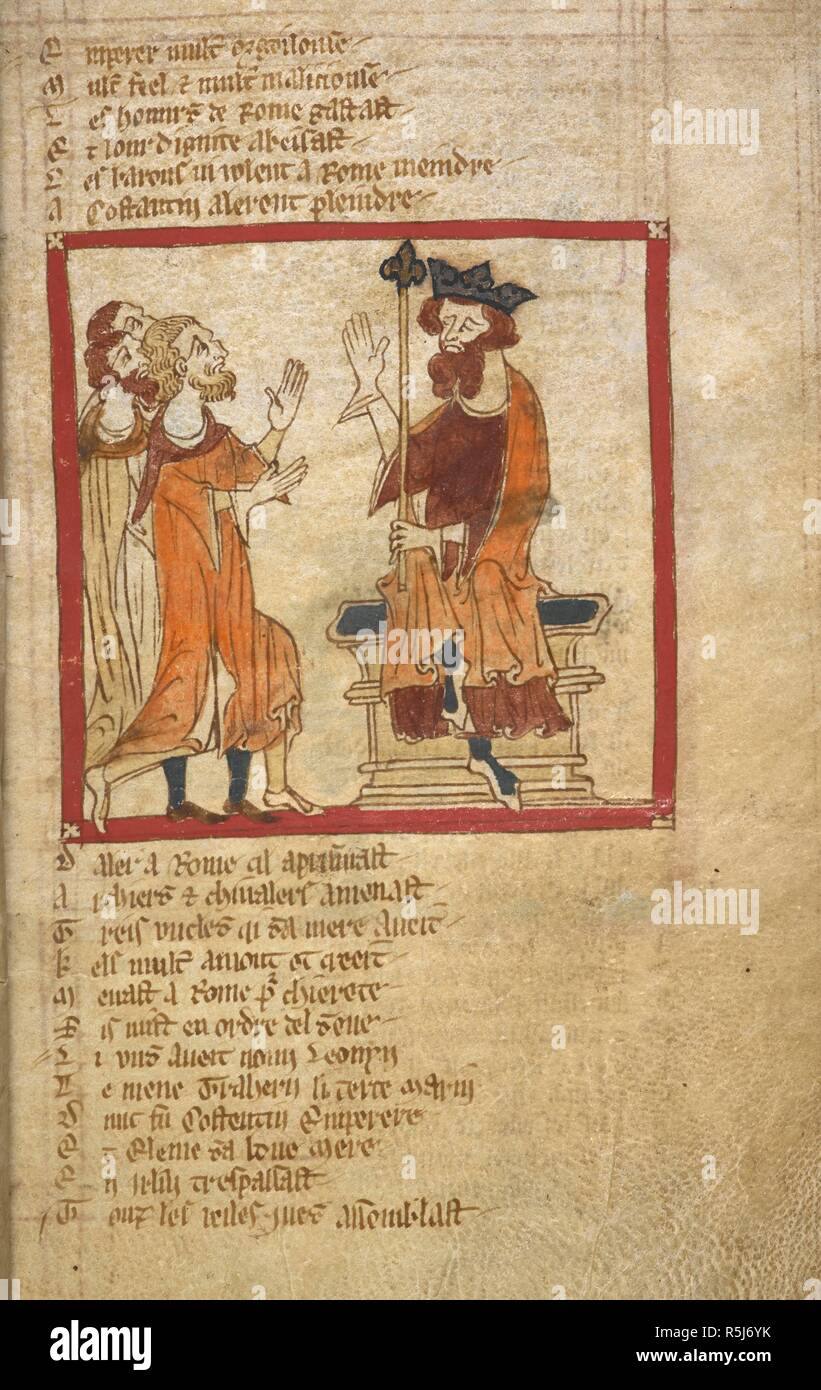 Constantine receives complaints. ROMANCES in French verse ... 14th century. Source: Egerton 3028 f.6. Author: Wace, Canon of Bayeux. Stock Photo