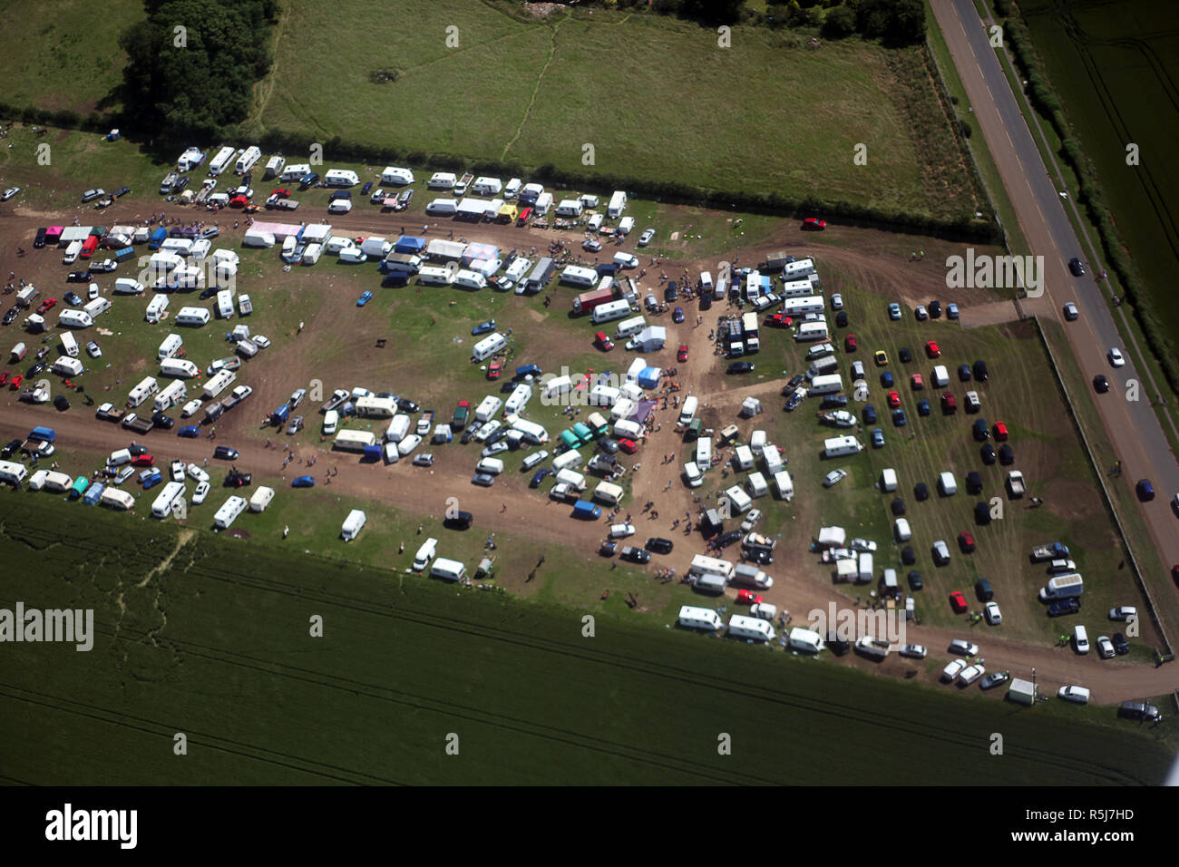 Aerial photo of Council organised travellers site for the annual Seamer horse Fair near Scarborough - Stock Image