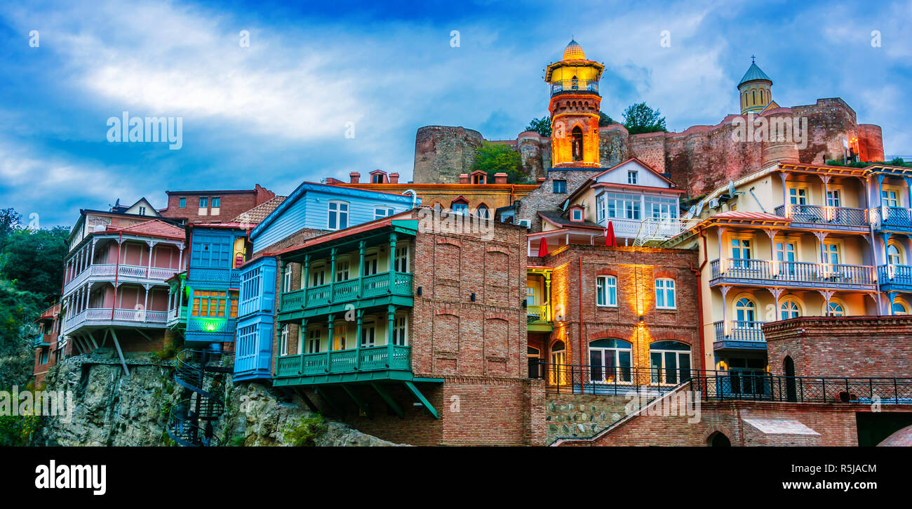 View of the Old Town of Tbilisi, Georgia after sunset Stock Photo
