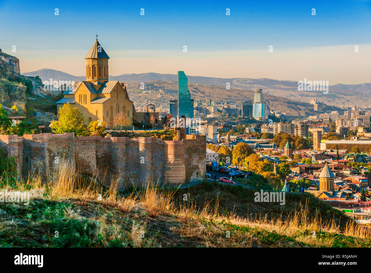 View of Narikala fortress in Tbilisi, the capital of Georgia. - Stock Image