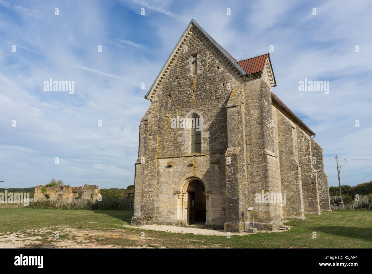 Templar church in Avalleur near Bar-sur-Seine, Aube, Champagne, France - Stock Image