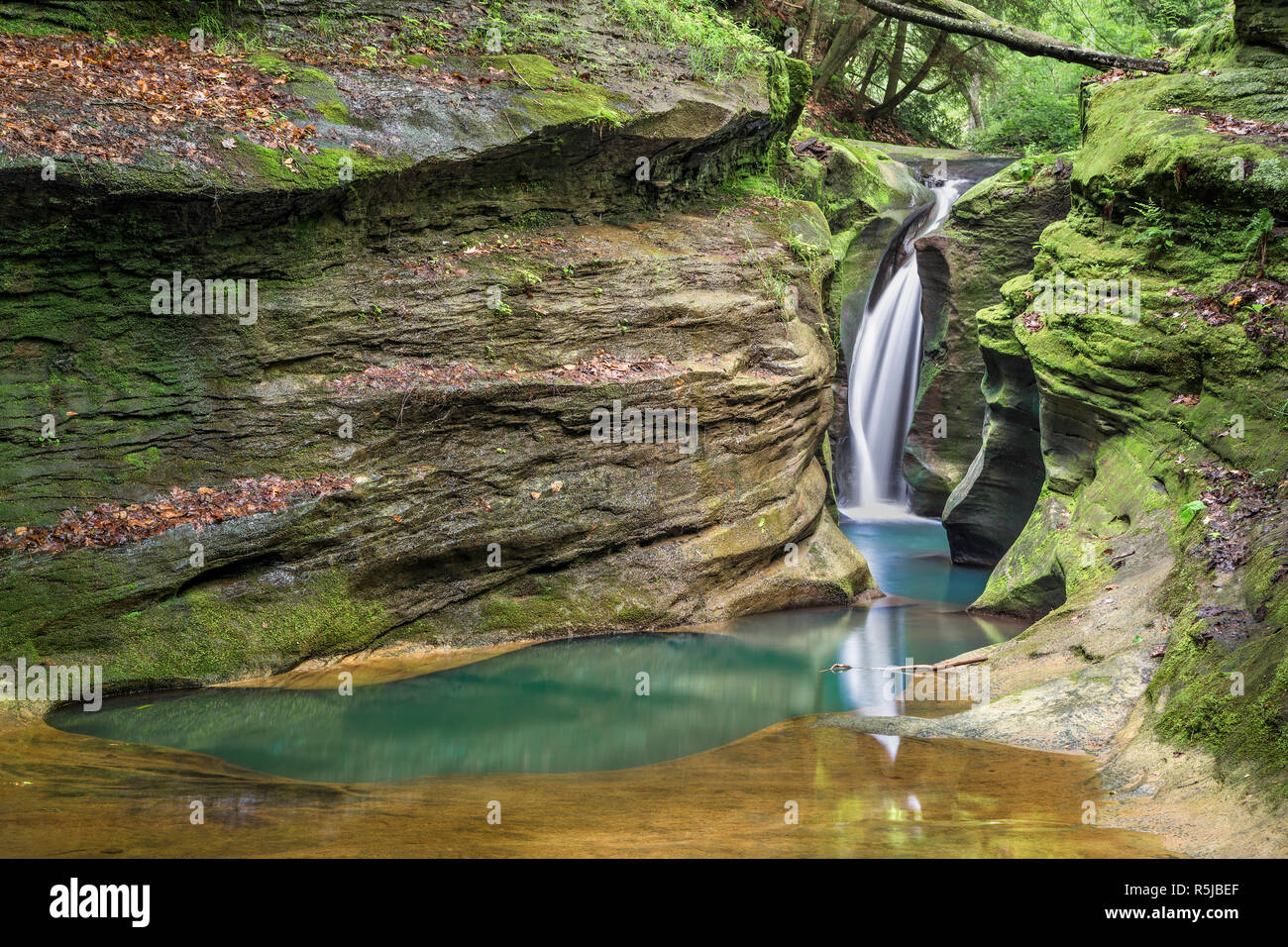 Robinson Falls, sometimes called Corkscrew Falls, is a beautiful little waterfall flowing in the Hocking Hills of Ohio. Stock Photo