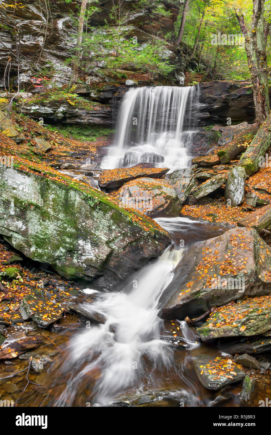 B. Reynolds Falls, one of many beautiful waterfalls in Pennsylvania's Ricketts Glen State Park, splashes through a rocky autumn landscape. Stock Photo