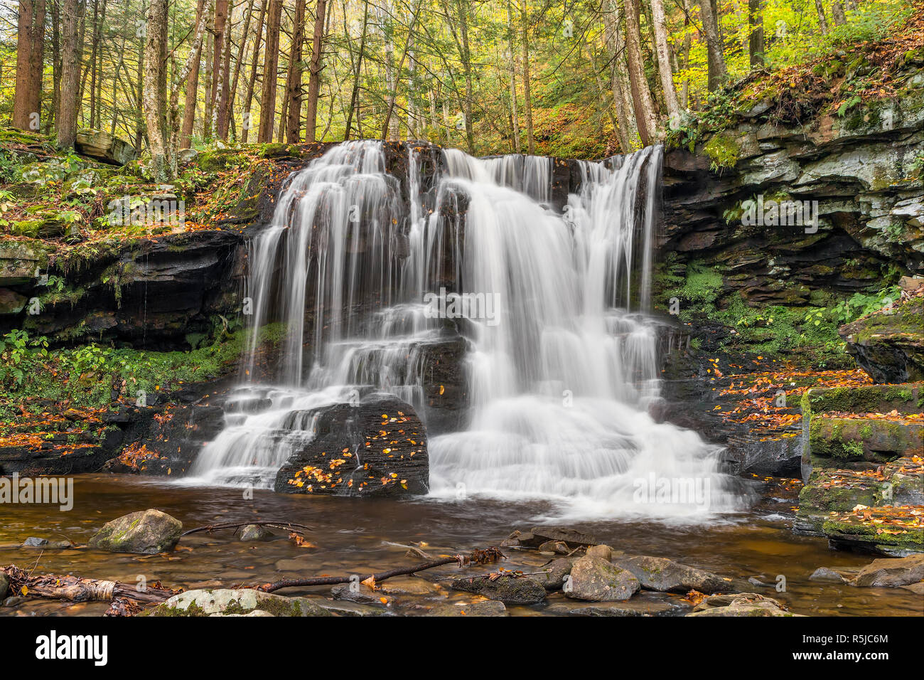 A beautiful cascading waterfall is surrounded by fall foliage on Dry Run in Pennsylvania's Loyalsock State Forest. Stock Photo