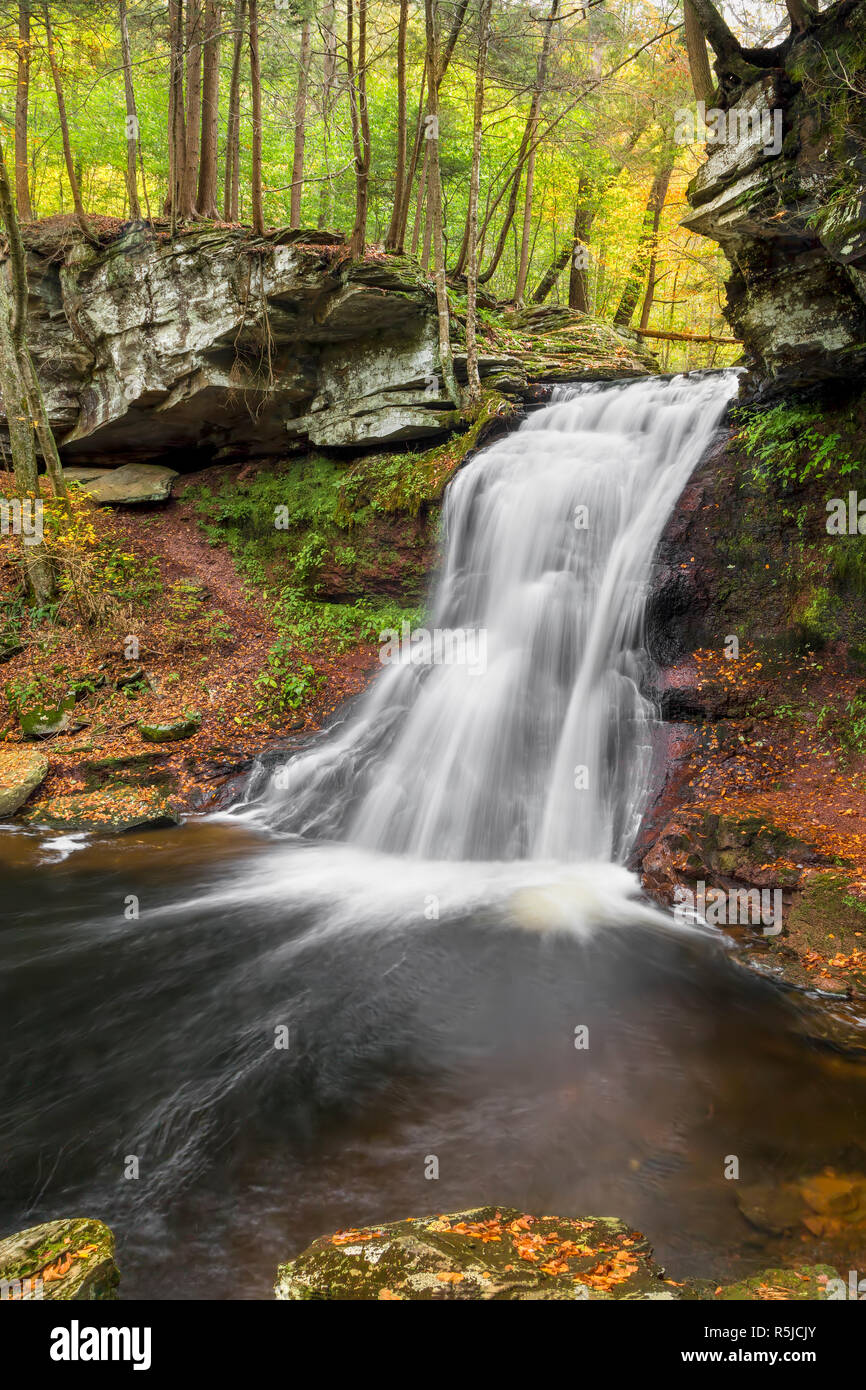 Sullivan Falls plunges down a rocky cliff in the autumn woods of Pennsylvania. Stock Photo