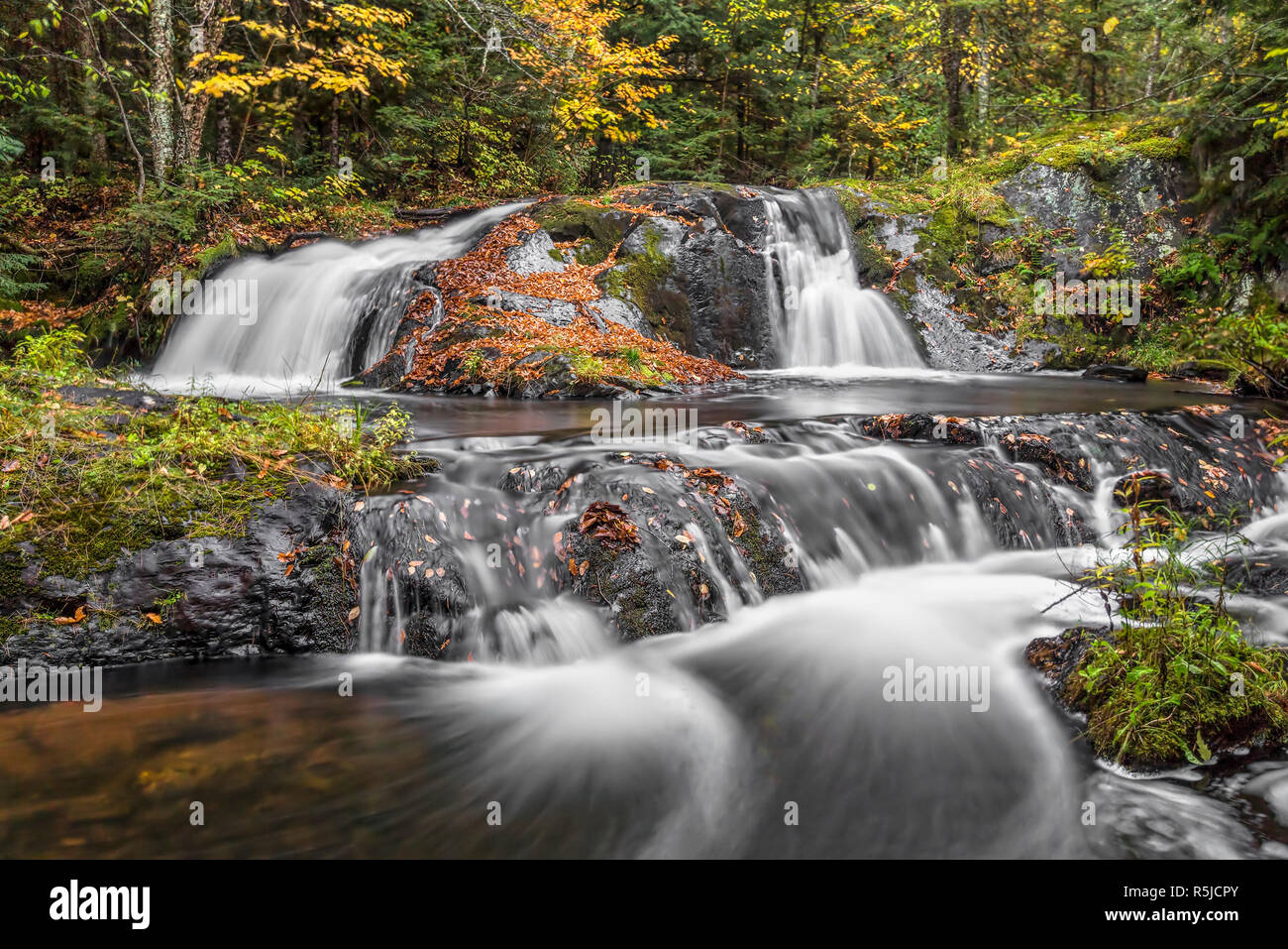 Lower Duppy Falls flows over leaf-covered volcanic rocks in a beautiful remote autumn wood of Michigan's western Upper Peninsula. Stock Photo