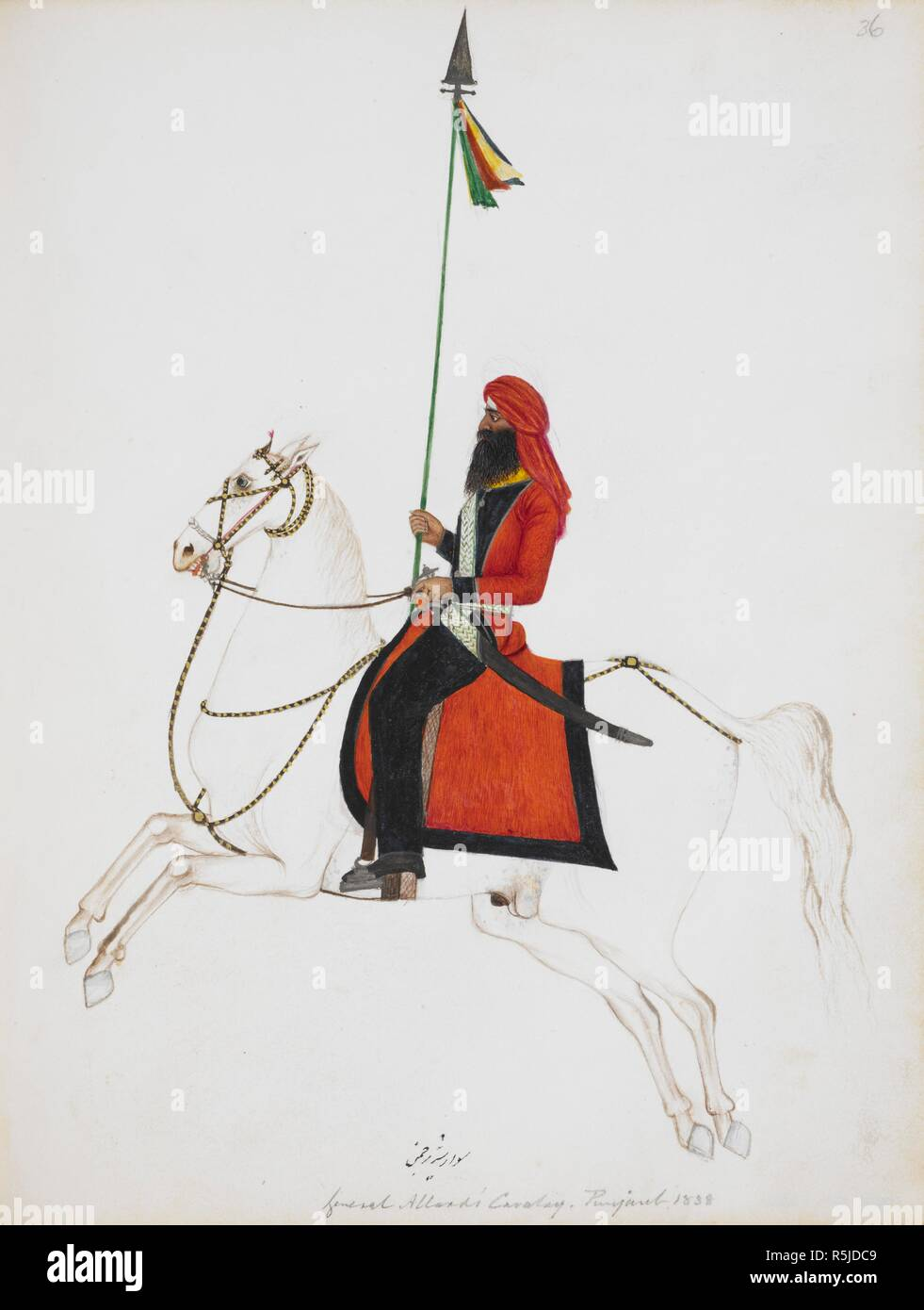 Cavalryman mounted on a white horse and carrying a lance with pennant. 1838 - 1839 Punjab style. Pencil watercolour. Inscribed in Persian characters:' Sawar i sher rajiman' (Trooper of the lion regiment); in English: 'General Allard's Cavalry, Punjaub. 1838.' Note: General Allard was a French adventurer who trained Ranjit Singh's cavalry from 1822-39. Source: Add.Or.1382. Language: Persian. Author: ANON. - Stock Image