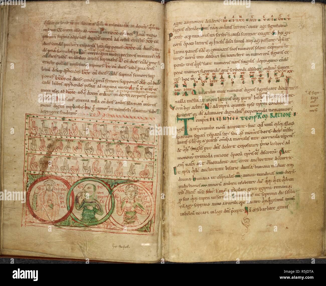 [Whole opening] Finger calculations, and a table of Greek and Roman letters signifying numbers, and illustrated by diagrams. From Bede's second Tract on ...